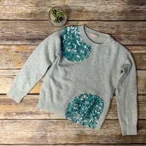 Crewcuts Green Sequin Embellished Wool Sweater